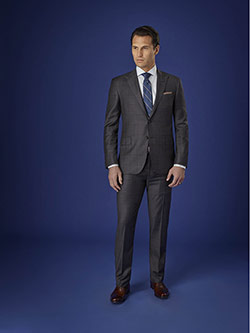 Men's Luxury Collection                                                                                                                                                                                                                                   , Super 150's Charcoal Windowpane
