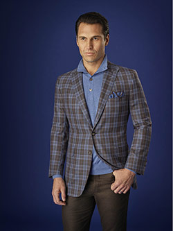 Men's Luxury Collection                                                                                                                                                                                                                                   , 100% Worsted Wood - Light Brown Plaid