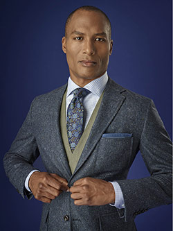 Men's Luxury Collection                                                                                                                                                                                                                                   , 100% Worsted Wood - Indigo Holland & Sherry Donegal
