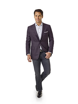 Men's Modern Collection                                                                                                                                                                                                                                   , Super 120's - Plum & Navy Fancy Weave
