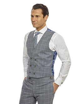 Men's Modern Collection                                                                                                                                                                                                                                   , Super 140's - Light Blue Gray WIndowpane Check