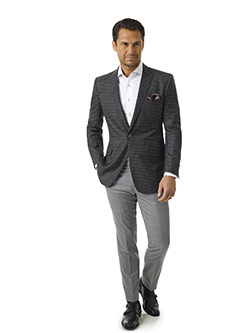 Men's Modern Collection                                                                                                                                                                                                                                   , Super 140's - Light Gray Flannel