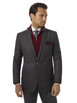 Men's Modern Collection                                                                                                                                                                                                                                   , Super 100's - Gray WIndowpane Check