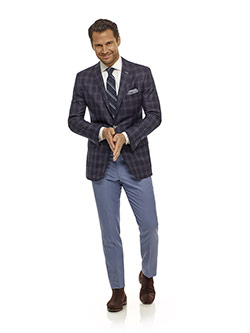 Men's Modern Collection                                                                                                                                                                                                                                   , Super 140's - Navy Windowpane