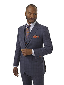 Men's Updated Classic Collection                                                                                                                                                                                                                          , Super 140's - Blue Gray Plaid