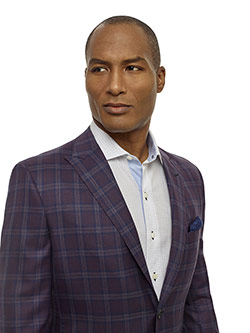 Men's Updated Classic Collection                                                                                                                                                                                                                          , Super 140's - Plum Windowpane