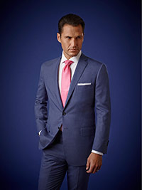 Men's Luxury Collection                                                                                                                                                                                                                                   , Super 140's Wool - Airforce Blue Sharkskin