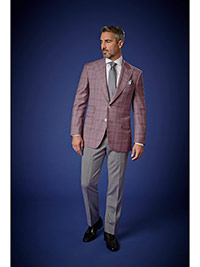 Men's Luxury Collection                                                                                                                                                                                                                                   , 95% Wool, 5% Silk - Rose Plaid