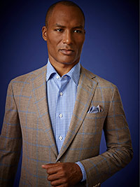 Men's Luxury Collection                                                                                                                                                                                                                                   , 60% Wool, 20% Silk, 20% Flax - Brown Windowpane