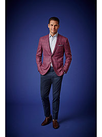 Men's Luxury Collection                                                                                                                                                                                                                                   , Super 120's Wool - Cranberry Windowpane