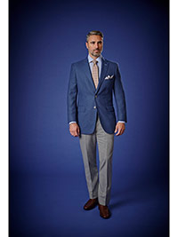 Men's Luxury Collection                                                                                                                                                                                                                                   , 100% Wool - Blue Plain Holland & Sherry Mesh Blazers
