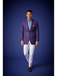 Men's Luxury Collection                                                                                                                                                                                                                                   , 100% Wool - Purple Plain Holland & Sherry Mesh Blazers