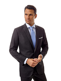 Men's Modern Collection                                                                                                                                                                                                                                   , Super 100's Wool - Char Gray Windowpane