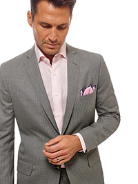 Men's Modern Collection                                                                                                                                                                                                                                   , Super 120's Wool - Light Gray Multi Stripe