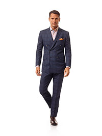 Men's Modern Collection                                                                                                                                                                                                                                   , Super 140's Wool - Slate Blue Plaid
