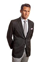Men's Modern Collection                                                                                                                                                                                                                                   , Super 100's Wool - Charcoal Fancy Weave