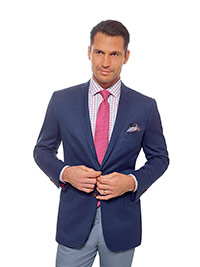 Men's Modern Collection                                                                                                                                                                                                                                   , Super 120's Wool - Blue Fancy Weave