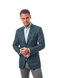 Men's Modern Collection                                                                                                                                                                                                                                   , Super 140's Wool - Teal Green Windowpane