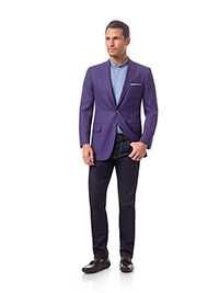 Men's Modern Collection                                                                                                                                                                                                                                   , 100% Wool - Purple Plain Holland & Sherry Mesh Blazers