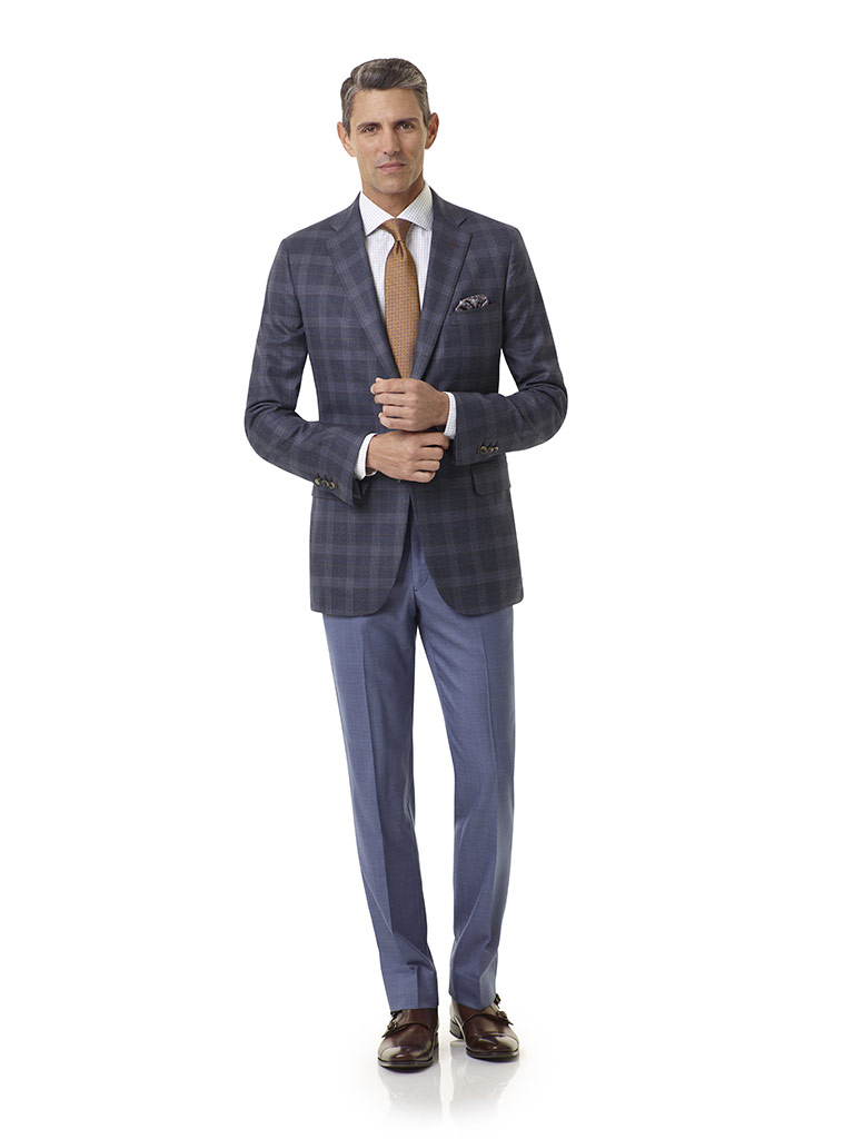 Executive Collection                                                                                                                                                                                                                                      , Super 120's Wool - Dark Denim Blue Plaid