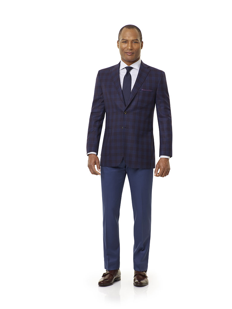 Executive Collection                                                                                                                                                                                                                                      , Super 120's Wool - Burgundy Plaid
