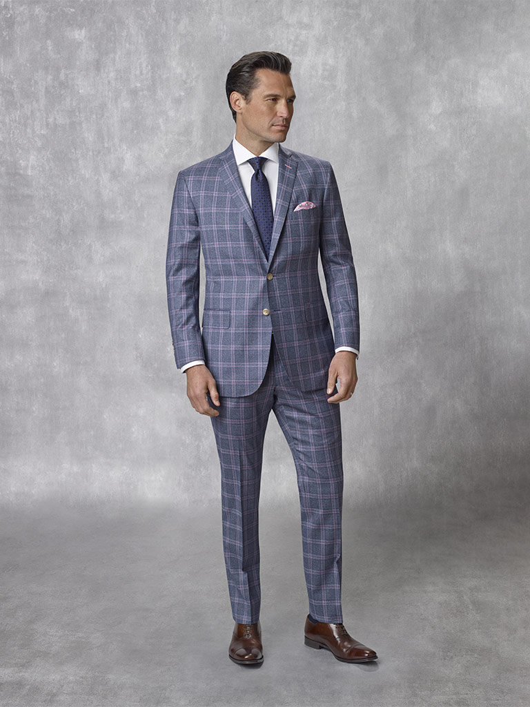 Oxxford Collection                                                                                                                                                                                                                                        , Super 130's Wool - Blue Plaid