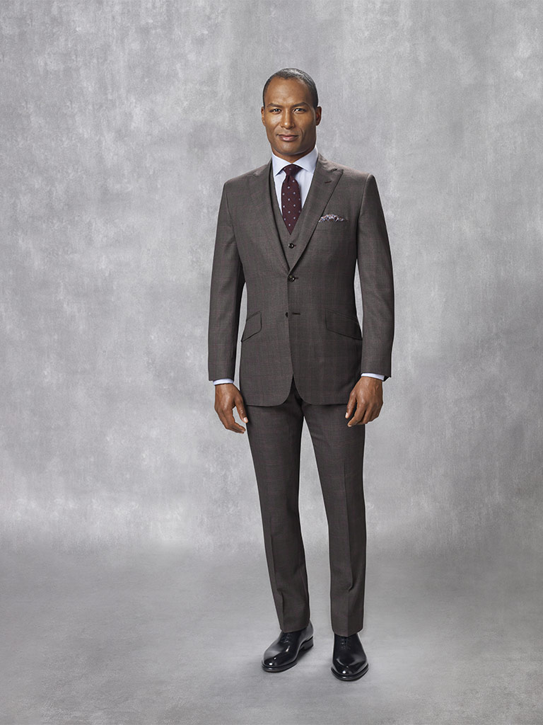 Oxxford Collection                                                                                                                                                                                                                                        , Super 160's Wool, 5% Cashmere Gray Plaid - Holland & Sherry - Swan Hill