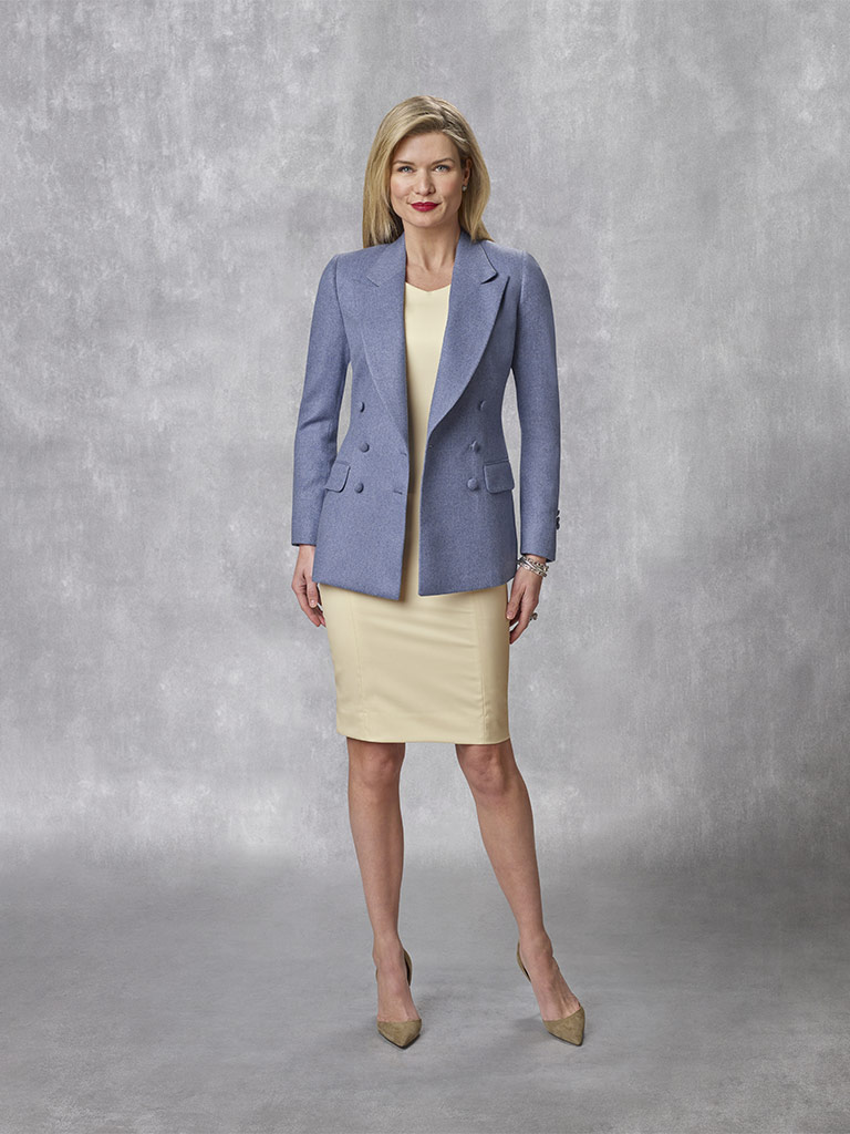 Oxxford Collection                                                                                                                                                                                                                                        , 100% Cashmere - Blue Twill