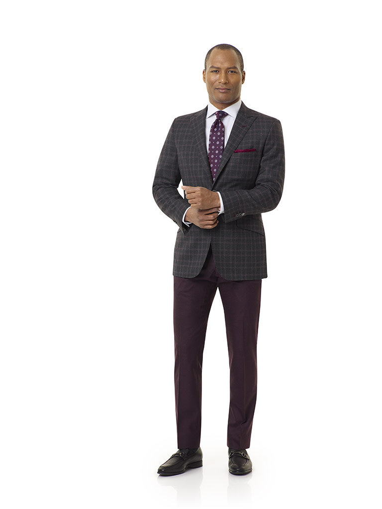 Royal Classic Collection                                                                                                                                                                                                                                  , Super 140's Wool - Brown Plaid