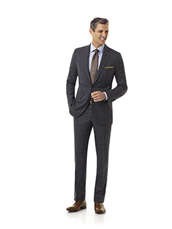 Tom James Men's Custom                                                                                                                                                                                                                                    , Super 120's Wool - Charcoal Plaid