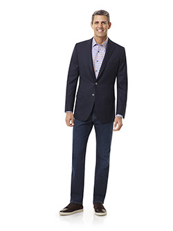 Tom James Men's Custom                                                                                                                                                                                                                                    , Super 120's Wool - Navy Diamond Weave