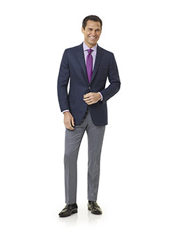 Tom James Men's Custom                                                                                                                                                                                                                                    , Super 120's Wool - Blue Gray Herringbone