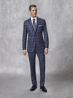 Tom James Men's Custom                                                                                                                                                                                                                                    , Super 100's Wool - Woolen Spun Blue Windowpane