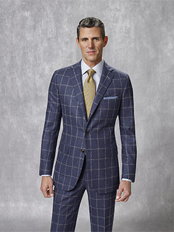 Custom Super 100's Wool - Woolen Spun Blue Windowpane