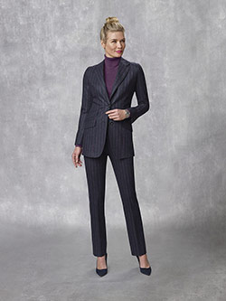 Oxxford Collection                                                                                                                                                                                                                                        , Super 100's Wool - Woolen Spun Navy Stripe