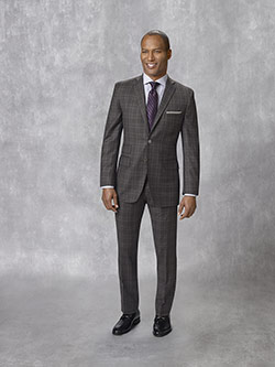 Oxxford Collection                                                                                                                                                                                                                                        , Super 130's Wool - Charcoal Plaid