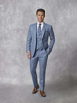 Oxxford Collection                                                                                                                                                                                                                                        , Super 140's Wool - Slate Blue Solid