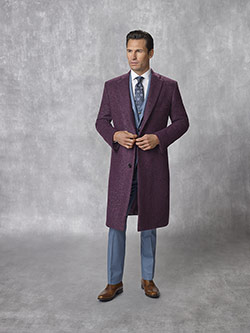 Tom James Men's Custom                                                                                                                                                                                                                                    , Plum Mix - Holland & Sherry - Contemporary Overcoat