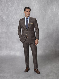 Tom James Men's Custom                                                                                                                                                                                                                                    , Super 130's Wool - Chocolate Plaid