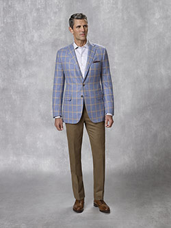 Custom 100% Cashmere - Blue Windowpane