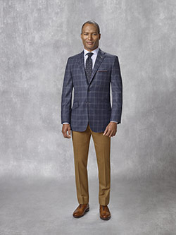 Oxxford Collection                                                                                                                                                                                                                                        , 95% Super 130's Wool, 5% Cashmere Blue Plaid