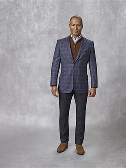 Custom 95% Super 130's Wool, 5% Cashmere Blue Plaid