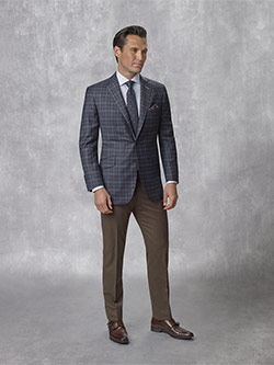 Tom James Men's Custom                                                                                                                                                                                                                                    , 95% Super 130's Wool, 5% Cashmere Midnight Plaid