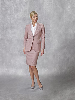 Tom James Women Custom                                                                                                                                                                                                                                    , 95% Wool, 5% Cashmere - Pink Solid - Holland & Sherry - Sherrykash