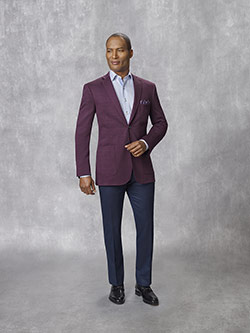 Tom James Men's Custom                                                                                                                                                                                                                                    , 94% Wool, 6% Polymide - Merlot Solid - Holland & Sherry - JJ One - Stetch Knits