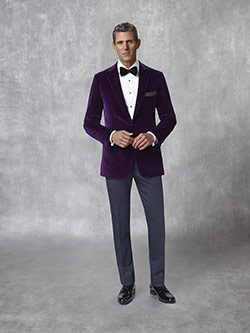 Oxxford Collection                                                                                                                                                                                                                                        , 100% Velvet - Plum Solid Tuxedo Jacket