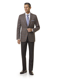Royal Classic Collection                                                                                                                                                                                                                                  , Super 140's Wool - Heather Brown Plaid