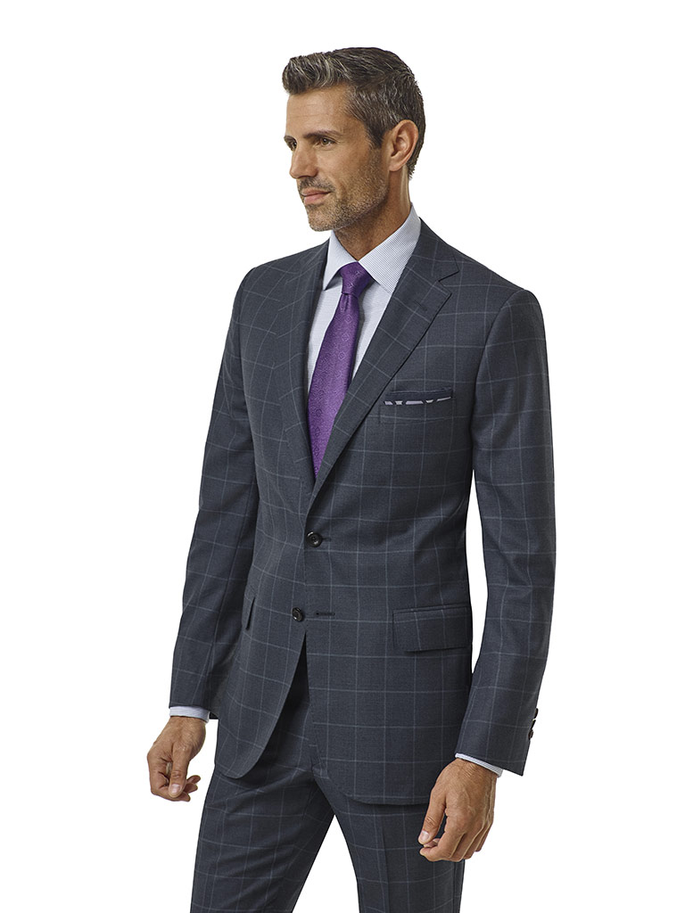 Slate Blue Windowpane Suit - Corporate Image