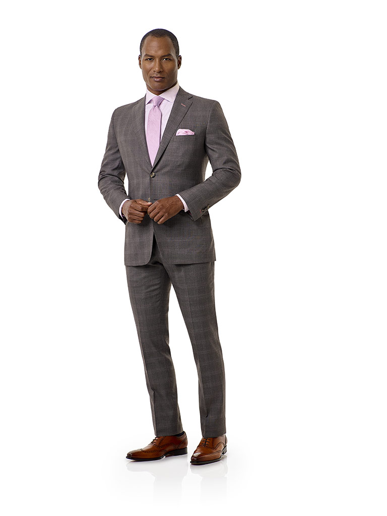 Taupe Gray Plaid Suit - Executive Collection