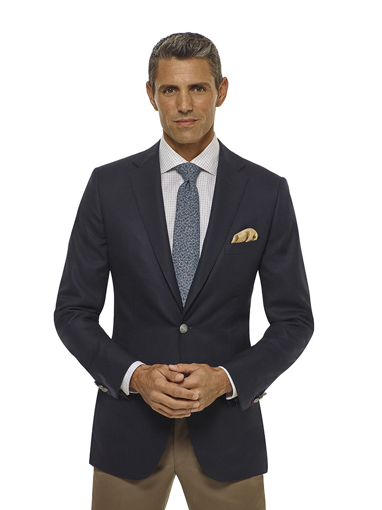 Navy Diamond Weave Blazer - Executive Collection